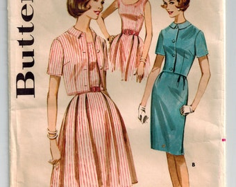 Vintage 60s Dress and Jacket Pattern Bust 32 Sleeveless or Short Sleeve Summer Dress Scoop Neck Fitted Bodice Bolero Jacket Pleated Skirt