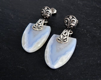 Blue Lace Agate Earrings: Sterling silver, blue and white agate, gemstone earrings, bali silver, openwork filigree, fancy shape, tongue