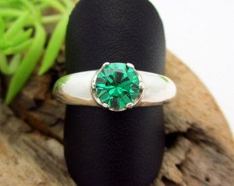 YAG Green Garnet, Lab Grown Ring in Sterling Silver, Bright Emerald Green Gemstone - Free Gift Wrapping