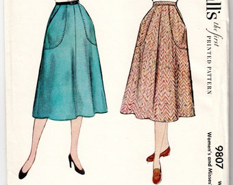 """1950's Vintage Sewing Pattern Ladies' Large Pocket Skirts McCall's 9807 28"""" Waist- Free Pattern Grading E-book Included"""