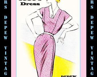 Vintage Sewing Pattern 1950's Day Dress in Any Size - PLUS Size Included - Depew 6083 -INSTANT DOWNLOAD-