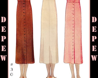 Vintage Sewing Pattern Reproduction Ladies' 1930's Skirt #3057 - INSTANT DOWNLOAD