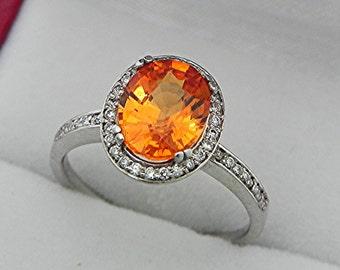 AAAA Mandarin Orange Spessartite Garnet   9x7mm  2.57 Carats   14K White gold Diamond halo ring 2072