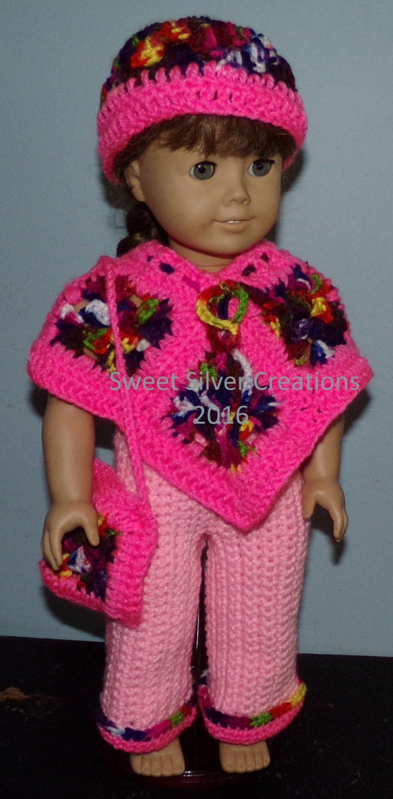 18 inch American Girl Crochet Pattern Poncho Set