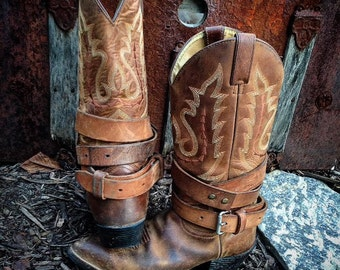 Distressed Brown Genuine Vintage Leather Adjustable Layered Boot Belts, Gypsy Cowgirl, Boot Accessories, Bohemian, Unisex