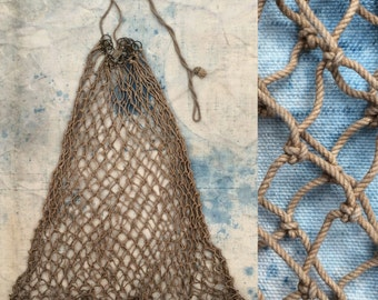 vintage hand-tied rope net bag / fishing creel