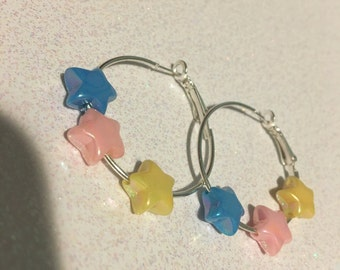 Fairy Kei Pastel Stars Hoop Earrings