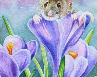 Spring Mouse Purple Crocus Flowers Limited Edition ACEO Giclee Print reproduced from the Original Watercolor