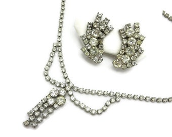 Rhinestone Necklace and Earring Set - Costume Jewelry, Choker, Bridal Wedding Prom