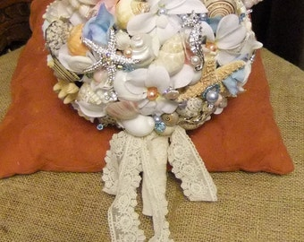 Bridal SEASHELL Sea Shell BOUQUET with Hydrangeas and Brooches - for Beach Wedding