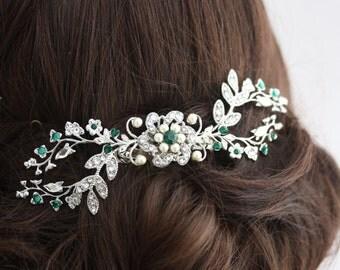 Wedding Hair Comb Emerald Green Crystal Bridal Headpiece Vintage Vine Comb Crystal Headpiece Wedding Hair Accessories  SPLENDID SABINE COMB