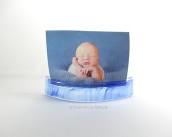 Photo Curve Note Holder Display Stand Clear Wispy Blue Fused Art Glass