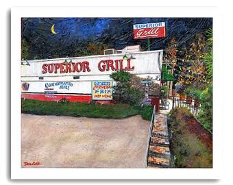 "Shreveport ""Superior Grill"" Restaurant Cafe Diner Bar Night Scene Art Print Signed and Numbered"