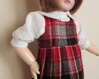 For Bleuette, 3 Piece Set - Plaid Wool Jumper, Blouse and Glengarry Cap Inspired by Bon Petit Diable, GL Catalog, 1935