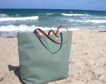 Beach Bag, Linen Tote Bag, Resort Tote, Vacation Bag