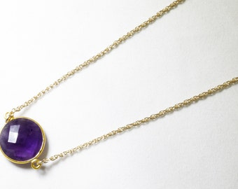 Purple Amethyst Necklace 14k Gold Bezel Genuine Amethyst Necklace Real Amethyst Necklace February Birthstone Amethyst Jewelry BZ-N-152-Am/g