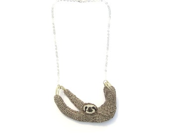 Sloth necklace - metal crochet animal jewelry, ooak wildlife necklace, cute sloth jewelry