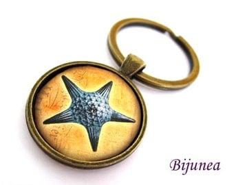 Starfish keychain - Ocean keychain - Ocean sea keychain - Sea ocean beach keychain k64