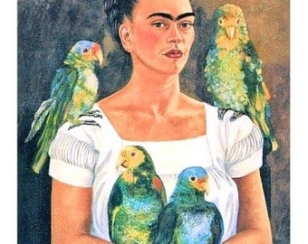 Frida Kahlo Parrots Reproduction Fabric Crazy Quilt Block Free Shipping World Wide
