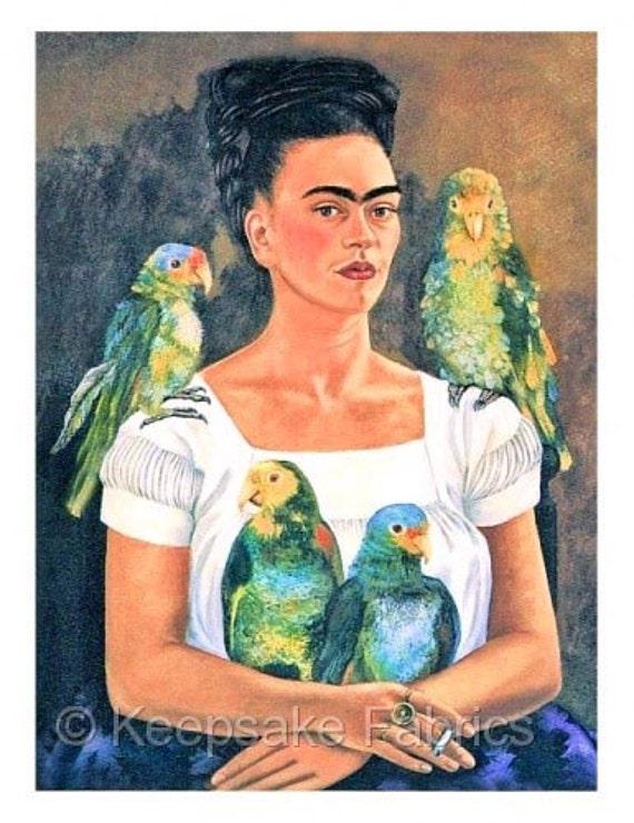 Frida Kahlo Parrots Reproduction Fabric Crazy Quilt Block Free