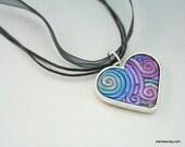 Silver Heart Necklace in Jewel Tone Fimo Filigree