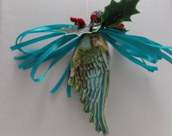 Angel Wing Ornament Ceramic Double Sided Turquoise Ribbon
