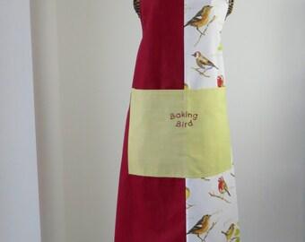 Baking apron-Ladies apron-Baking bird apron-embroidered-garden birds print panel apron OOAK