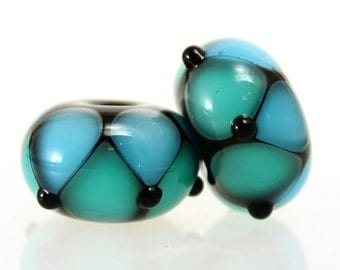 Made to Order, Handmade Lampwork Beads, Aqua and Teal Blue Pair, SRA Beads, Donna Trull, Artisan Beads, Floral Beads, Glass Flowers