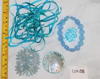 Destash Assorted Blue Mixed Lot Beads, Ribbon Shell Pendant Ribbon mix Lot 38