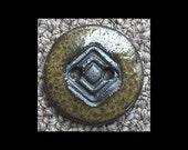 Ceramic Button: Mottled Olive Greens Black Basaltic Stoneware