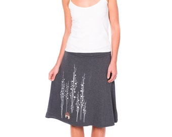 Unique Gift for Women, Knee Length Aline Skirt, Plus Size Jersey Skirt, Fold over waist band, Graphic Skirt-Surrounded by big trees