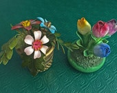 Staffordshire BONE CHINA & Enamel FLOWERS Roses Daisies Thimble Decorations Table Accents