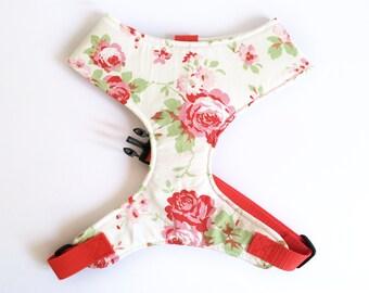 Pug Dog harness - Red Rose, Cath Kidston Print, Custom Made Soft Dog Harness