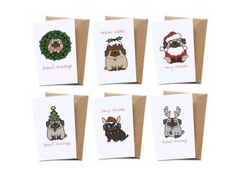 Pug Mini Christmas Card Pack