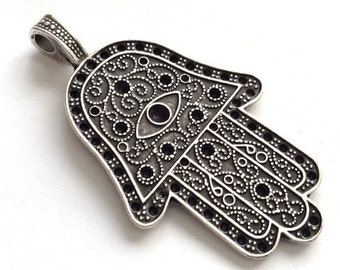 1pc- Matte Silver plated Hand of Hamsa pendant-68x40mm-(405-035SP)