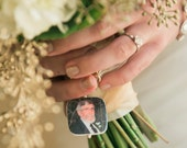 A lovely Bridal Bouquet Photo Charm - Bouquet Memorial Jewelry - BC1R