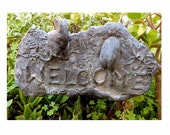 Rabbits Welcome Goodbye Antiqued Garden Stake Marble Composite Vintage Outdoor Yard Art Naturalist Bunny Greeting Walkway Plaque