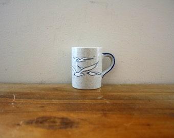 vintage 70s Peaceful Seagulls Norcrest Japan Coffee Mug // Retro Coffee Cup