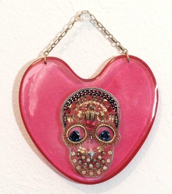 Items similar to Hot Pink Reclaimed Sugar Skull Heart ...