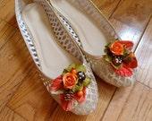 autumn shoes, gold flats, gold flat shoes, bridal shoes, rustic wedding shoes, autumn wedding accessories, metallic shoes, orange shoe clips