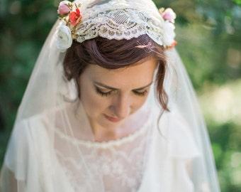 ivory juliet cap veil, juliet veil, juliet lace veil, ivory bridal veil, tulle wedding veil, vintage inspired veil, longer fingertip veil