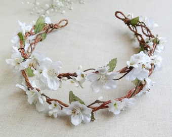 bridal hair piece, bridal flower crown, floral crown headband, white flower crown, floral headpiece, floral headband white, cherry blossom