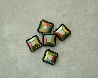 Color Square Button set of 5