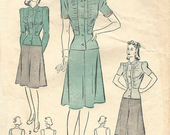 1940s Advance 2623 Vintage Sewing Pattern Misses Afternoon Dress, Two Piece Dress,