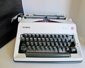 Olympia Monica Manual Portable Typewriter, Hard Travel Case, Two Tone Saturn White and Slate Gray Made in West Germany early 1970s