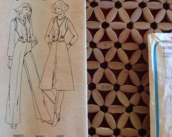 Vintage 70s Mod Simplicity Jiffy Dress Pattern 8156 Vest, Flares Pants, A Line Skirt, Size 12 B34