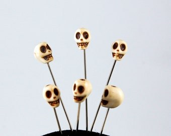 Howlite Skull Straight Pin - Set of 6 medium long bone color voodoo pins