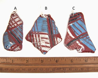 One of a Kind Totally Hand Formed Plaid Pottery Shard Pendants of Earthenware Clay, Tumbled Smooth, Ideal for Aromatherapy Jewelry