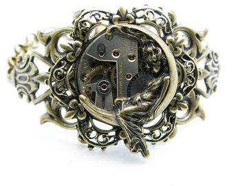 Steampunk Brass Medium Moon Goddess Bracelet