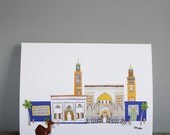 Marrakech Print A3 - Cityscape Illustration - Moroccan Wall Art